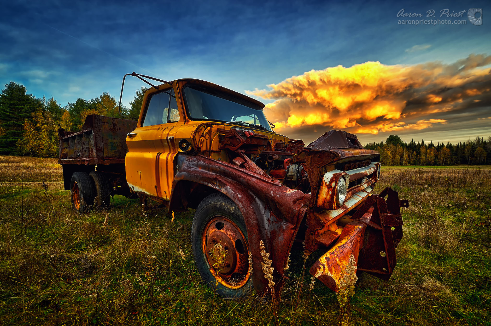 Old dump truck at sunset | Aaron Priest Photography